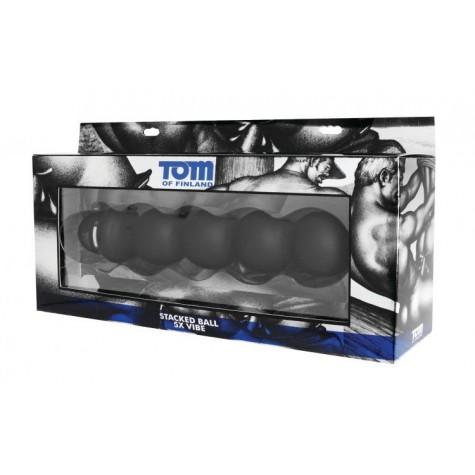 Анальный вибромассажер Tom of Finland Stacked Ball 5 Mode Vibe - 24 см.