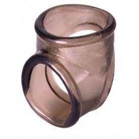 Дымчатое эрекционное кольцо с фиксацией мошонки